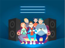 Friends play computer games. funny. Doodle characters. Vector illustration Stock Images