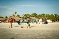 Friends play cricket on the beach of GOA in India. The guys play Indian baseball on the beach. Indian national sport. royalty free stock images
