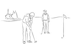 Friends play golf. Two young men are playing golf. Black and white image drawing by lines Royalty Free Stock Photos