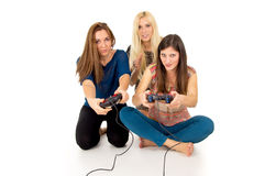 Friends play video games Stock Image