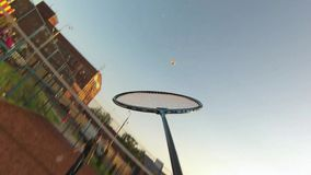 Friends playing Badminton on court stock video footage