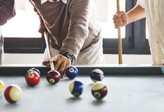 Friends Playing Billiard Relaxation Happiness Concept Royalty Free Stock Photos