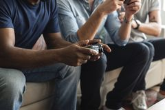 Friends playing game together fun Stock Photo