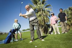 Friends Playing Golf. Group of multiethnic friends playing golf at golf course stock image
