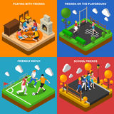 Friends Playing 4 Isometric Icons Composition Stock Photos