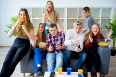 Friends playing playstation Stock Photos