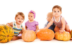 Friends playing with pumpkins Stock Image