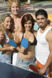 Friends Playing Table Tennis Stock Image