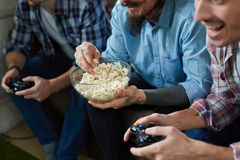 Friends Playing Video Games Together Royalty Free Stock Photography