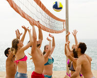 Friends playing volleyball Royalty Free Stock Photo