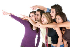 Friends pointing out Stock Images