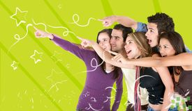 Friends pointing out stars Royalty Free Stock Photos
