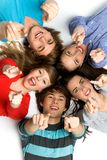 Friends pointing their fingers Royalty Free Stock Photos