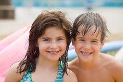 Friends at the Pool Royalty Free Stock Photography