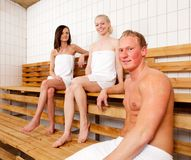 Friends Portrait in Sauna Royalty Free Stock Photography