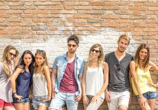 Friends posing outdoors Royalty Free Stock Photos