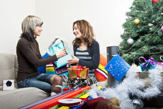 Friends Preparing Christmas Presents Royalty Free Stock Photo