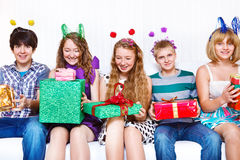 Friends with presents Royalty Free Stock Image
