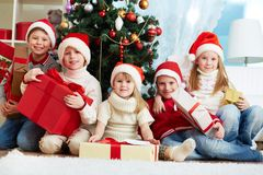 Friends with presents Royalty Free Stock Photos