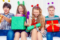 Friends with presents Royalty Free Stock Photo