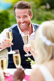 Friends Proposing Champagne Toast At Wedding. Close Up Of Friends Proposing Champagne Toast At Wedding Smiling Royalty Free Stock Photo