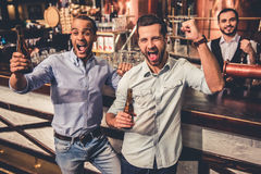 Friends in pub. Handsome friends are drinking beer, cheering for sport team and smiling while resting at the pub Stock Image