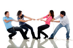 Friends pulling a rope Royalty Free Stock Photography