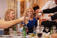 Friends raising their glasses in a toast royalty free stock photos