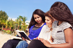 Friends Reading Bible on the Beach Stock Image