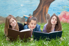 Friends reading books. In the park Stock Images