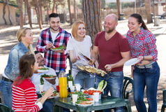 Friends relaxing at grill party. Group of friends relaxing at grill party at park Royalty Free Stock Image