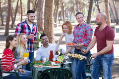 Friends relaxing at grill party Stock Photography