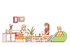 Friends relaxing in living room or office lounge Stock Photography