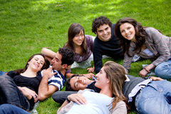 Friends relaxing outdoors Royalty Free Stock Photo