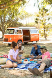 Friends relaxing on picnic blanket at field Stock Images