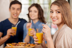 Friends at the restaurant. Royalty Free Stock Photo
