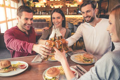 Friends resting in cafe Stock Image