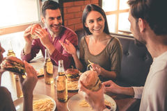 Friends resting in cafe Royalty Free Stock Photography