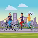 Friends riding bicicle. With double bike cityscape vector illustration graphic design vector illustration graphic design royalty free illustration