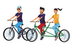 Friends riding bicicle. With double bike vector illustration graphic design vector illustration graphic design stock illustration