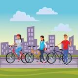 Friends riding bicicle. Walking man cityscape vector illustration graphic design vector illustration graphic design stock illustration