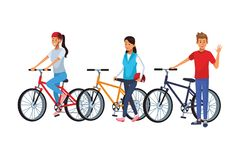 Friends riding bicicle. Walking man vector illustration graphic design vector illustration graphic design stock illustration