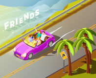 Friends Riding Car Isometric Travel Poster Royalty Free Stock Photography