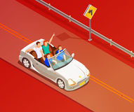 Friends Riding Luxury Car Isometric Poster Stock Images