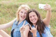 Friends rock and make selfie Royalty Free Stock Image