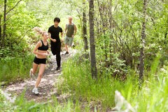 Friends running in the forest Stock Image