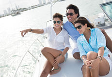 Friends sailing on a boat Stock Photo
