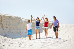 Friends on sand Royalty Free Stock Photography