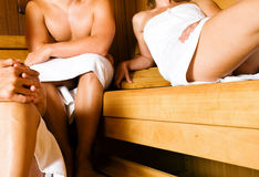 Friends in the sauna Royalty Free Stock Photo