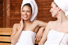 Friends in Sauna Stock Photo